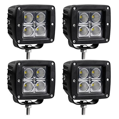 2X 16W 4inch FLOOD LED Cube Pods Work Light Flush Mount Offroad For Jeep Square