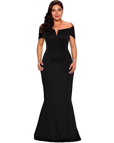 79a56c1d10f0f Lalagen Women s Plus Size Off Shoulder Long Sleeve Formal Gown Red ...