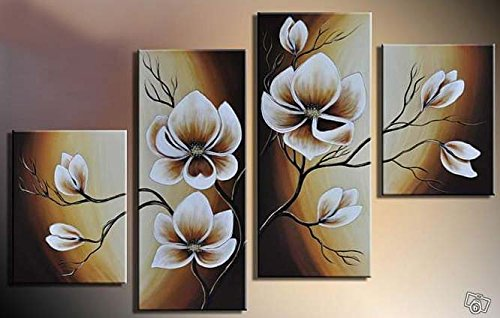 Pyradecor Magnolia Flowers Modern 2 Piece Stretched And Framed
