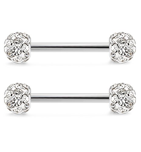 Jstyle 316L Stainless Steel Body Jewelry 14G Nipplerings Piercing Jewelry  Barbell Crystal Ball Bar White fee3eeda4fa6