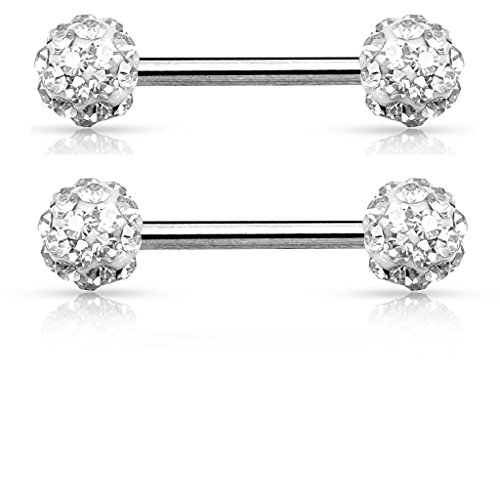 Crystal Paved Ferido Balls Nipple Bars Barbells Rings – 14G 316L Stainless  Steel – Sold as a Pair Clear 5dadf83ec38a