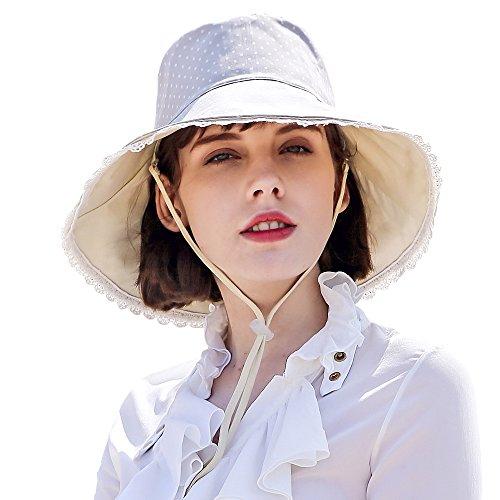 5c3e42d6b93 Erigaray UPF50 Lightweight Sun Hat for Womens Girls with Detachable Chin  Cord Packable Wide Brim Beach Hats, 54-60CM, Beige Large